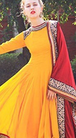 Gorgeous Yellow Neck Embroidered Georgette Long Anarkali Suit BP0214