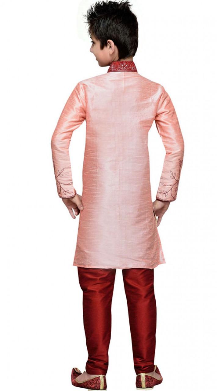 Party Wear Light Pink Art Silk Boy Sherwani GR11808