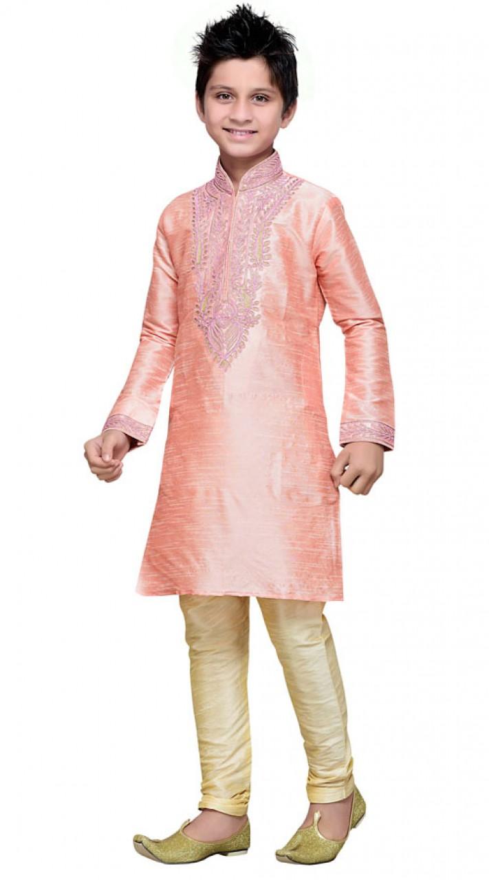 Party Wear Light Pink Art Silk Boy Kurta Pajama GR14412