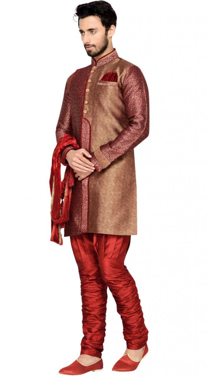 Maroon Brocket Men Indo Western Sherwani Gr145611