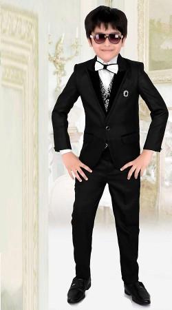 Graceful Black Premium Fabric Tuxedo Coat Pant For Kids Boy DT225553