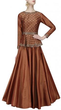 Graceful Brown Silk Designer Plain Skirt With Peplum Choli SUUDL21219