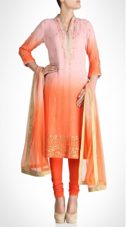 Graceful Georgette Pink And Orange Hand Work Churidar Suit SUMS19617