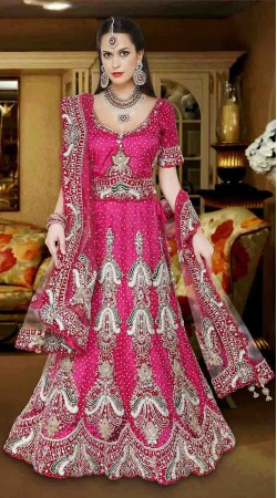 Graceful Magenta Net Semi Bridal Lehenga Choli With Heavy Work DTL445
