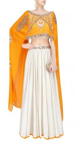 Graceful Off White Silk Designer Lehenga With Extra Long Sleeves Choli SUUDL24019