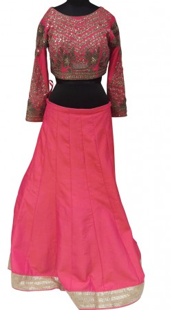 Graceful Pink Silk Plain Lehenga With Heavy Work Choli LD001107