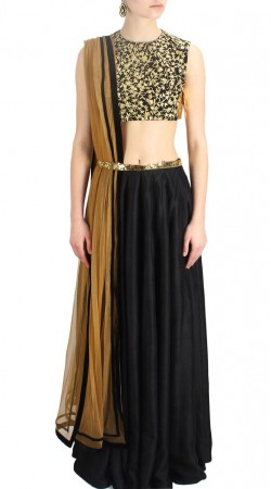 Graceful Plain Black Dupion Silk Lehenga With Embroidered Choli SUUDL14016