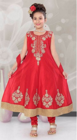 Graceful Red Embroidered Kids Girl Anarkali Suit With Dupatta DTK152