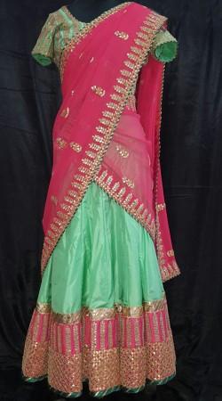Graceful Silk Sea Green Designer Lehenga Choli With Contrast Dupatta SMEXC3002