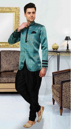 Graceful Sky Blue Brocade Indowestern Style Sherwani DTINDO15750