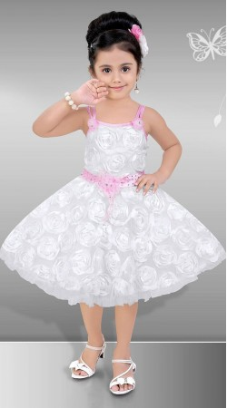 Graceful White Premium Fabric Kids Girl Designer Short Frock DT12348