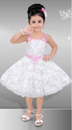 Graceful White Premium Fabric Kids Girl Designer Short Frock DT12348