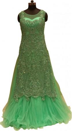 Great Fashion Fine Net Resham And Zarkan Work Designer Floor Length Gown LD000806