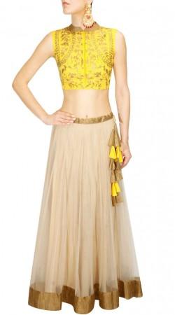 Great Fashion Off White Net Lehenga With Contarst Yellow Choli SUUDL18118