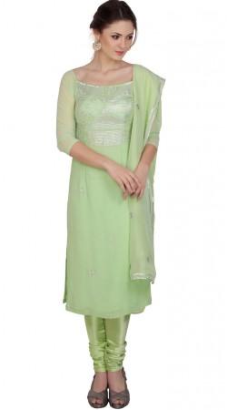 Great Fashion Pista Green Georgette Hand Work Churidar Suit SUMS19117