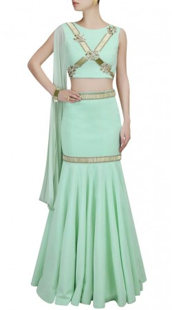 Great Fashion Sea Green Georgette Designer Crop Top Lehenga Style SUUDL15918