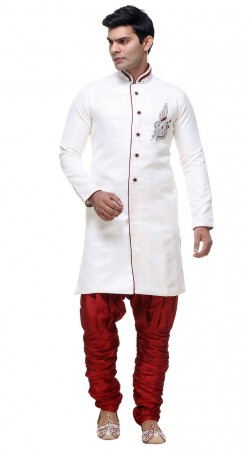Great Fashion White Brocade Sherwani With Red Bottom GR131304