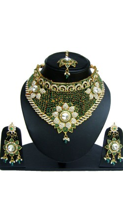 Green And White Stone Work Necklace Set For Party NNP82606