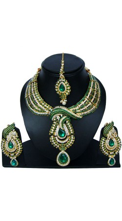 Green And White Stone Work Necklace Set For Party NNP83407