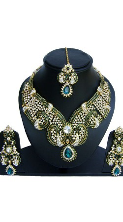 Green And White Stones Work Necklace Set For Party NNP73402