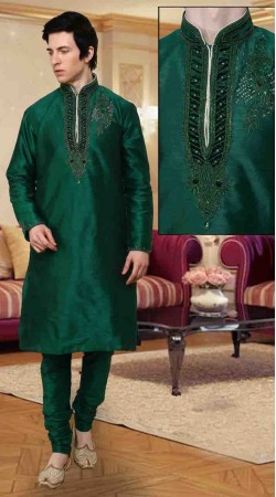 Green Art Dupion Silk Neck Embroidered Kurta Payjama DTKP10838