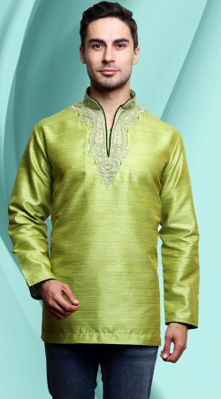Green Banarasi Tassar Silk Embroidery Work Neck Men Short Kurta DTDK863