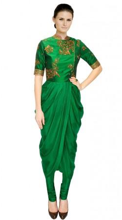 Green Crepe sillk And Dupion Designer Salwar Kameez SUUDS31404