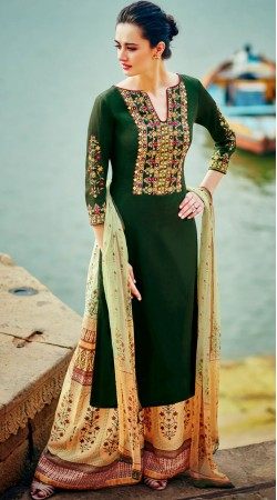 Green Embroidery Work Long Kameez With Printed Palazzo Pant MR700612