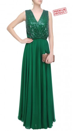 Green Georgette Designer Gown Style Suit SUMS33521