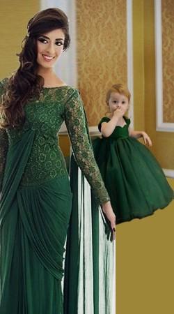 Green Georgette Like Mother Like Daughter Dress BP1651