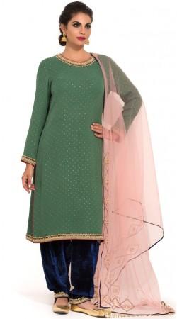 Green Georgette Plus Size Patiala Salwar Kameez SUMS33924
