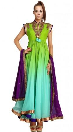 Green Net Ankle Length Anarkali Suit SU2701