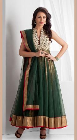 Green Net Ankle Length Anarkali Suit SU6001
