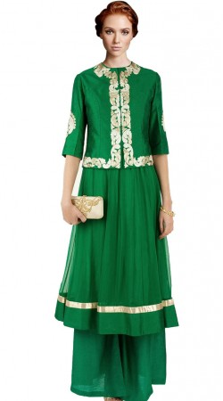 Green Net Anarkali Suit SU2101