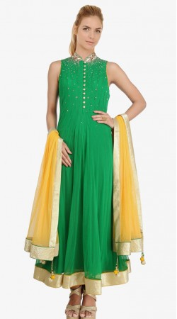 Green Net Readymade Plus Size Salwar Kameez With Yellow Dupatta SU15710