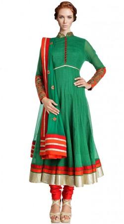 Green Pure ChAnderi Long Length Anarkali Suit SU5401