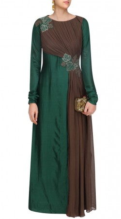 Green Silk And Georgette Gown Style Suit SUMS35324