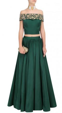 Green Silk Designer Off Shoulder Crop Top Lehenga SUUDL24925