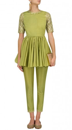 Green Silk Short Frock Kameez With Cigarette Pant SUUDS49930