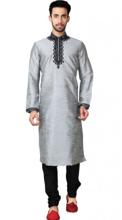 Grey Emboridery Work Kurta Pajama For Men GR151214