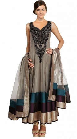 Grey Net Ankle Length Anarkali Suit SU1401