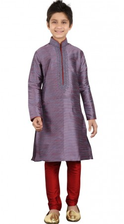 Greyish Purple Embroidery Work Kurta With Red Churidar Bottom GR20612