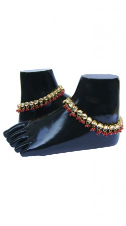 Hand Crafted Gold Plated Base Metal Red Moti Designer Anklet N71798
