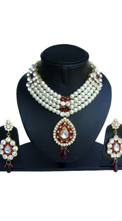 Hand Crafted White Pearl Moti Red Stones Designer Necklace Set NNP74702
