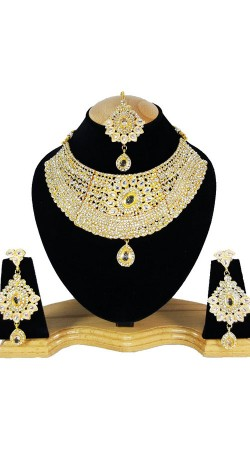 Hand Made Party Wear Necklace Set With Maang Tika NNP79905