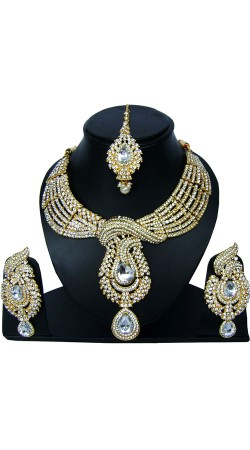 Hand Made Stone work Necklace Set With Maang Tika NNP83807