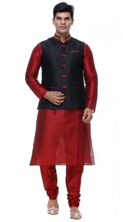 Hand Picked Black Waist Jacket Red Silk Mens Kurta GR140703