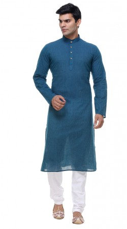 Hand Picked Blue Cotton Plain Mens Kurta With Churidar GR141606