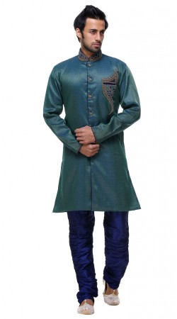 Hand Picked Brocade Teal Blue Indo Western Handsome Man Sherwani GR131004