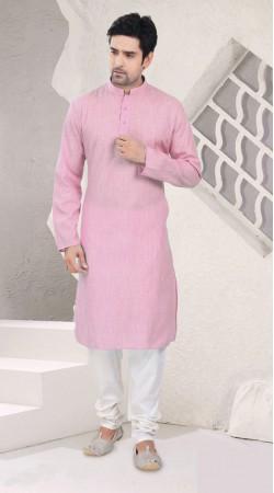 Hand Picked Light Pink Cotton Kurta Pajama For Mens SI1142